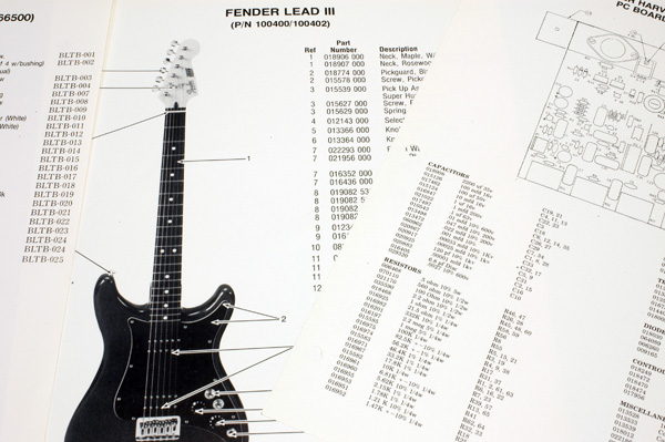 MoreFenderDataSheets.2 fender squier bullet (265595), 1984, parts list, photo, bridge fender squier bullet strat wiring diagram at bakdesigns.co